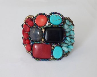 Cuff bracelet with semi-precious stones, Boho bracelet, Colorful bracelet, Turquoise and coral bracelet