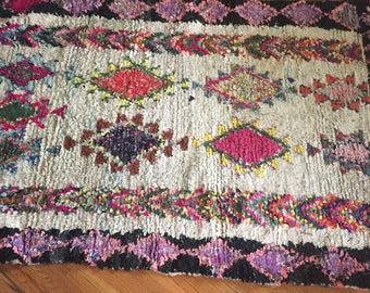 Vintage Moroccan Boucherouite Rug- colorful & bright {Pinks, Purples}