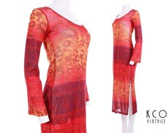 Sheer Mesh Dress Long Bell Sleeve Orange Sunset Ethnic Print Bodycon Midi Dress 90s Vintage Women's Size Medium / Large