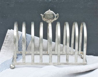 vintage French toast rack, petit dejeuner table, toast serving rack, teapot handle, breakfast table, French silverware, great gift idea