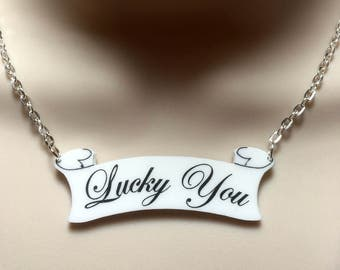 "Harley Quinn TATTOO inspired ""LUCKY YOU"" necklace"