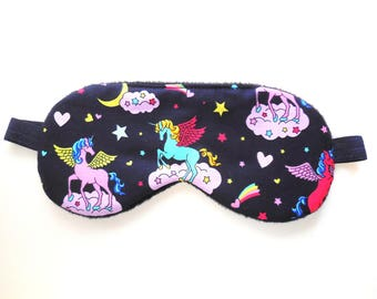 Unicorn Sleep Mask for Girls, Eye Mask Women, Pre-teen Gift, Eyeshade, Fleece Blindfold, Satin Night Face Nap, Cute Sleepmask Cotton Flannel