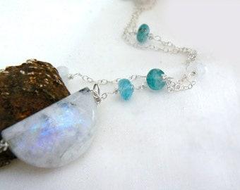 Moonstone gemstone pendant- Moon rainbow moonstone necklace- Boho white stone pendant sterling silver chain- Flash blue moon necklace- gift