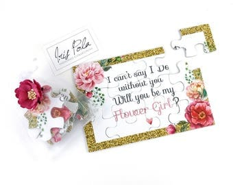 Be my Flower Girl Proposal Puzzle, Invitation, Pink Wild Rose Flower, Printed Glitter, Organza Pouch, Jigsaw, NEW Improved Thicker Puzzle