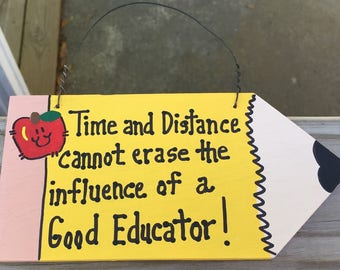 Teacher Gifts Wood Pencil  20 Time & Distance Good Educator