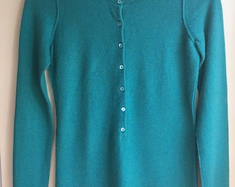 100% cashmere robins egg blue upcycled womens small by Three Whiskers Farm