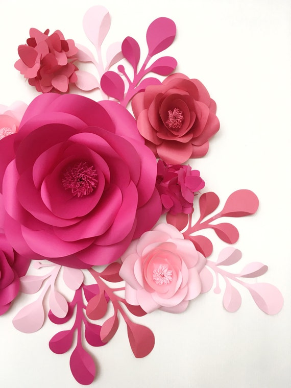 Baby room wall decor paper flowers paper flowers over the for Decorative flowers for crafts