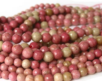 """15""""  6mm 8mm Rhodonite FACETED pink round Beads polished Gemstone - full strand"""