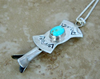 Navajo Indian Turquoise Sterling Silver Squash Blossom Native American Pendant Necklace