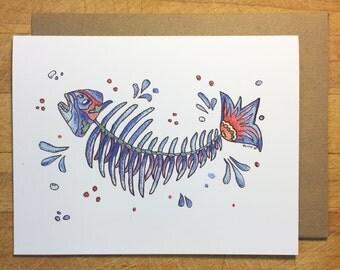 Fishbone greeting card