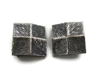Medieval jewelry Square earring Antique silver earring Brushed silver Tortolani clip earring Black silver earring Hand cast Art clip earring