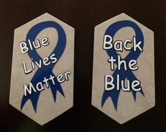 Two Piece Set - Back the Blue - Blue Lives Matter Police Officers Magnets (M1)