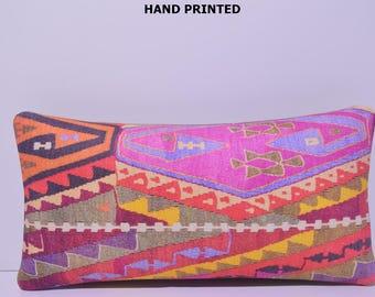 pink lumbar pillow bright pillow sham yellow pillow case decorative pillow cover lumbar throw pillow long pillow case red kilim pillow 14-30