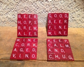 Red Scrable Tile Coasters
