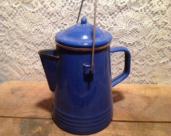Blue Metal Coffee Pitcher