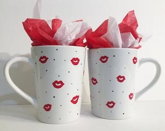 Handpainted Kiss Tea and Coffee Mugs