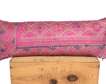 SALE Chinese Miao Wedding Blanket Pillow Pink Vintage