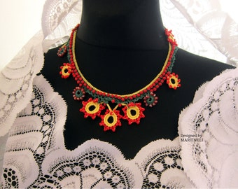 Bead Crochet Necklace, Statement Crochet, Woman Bib Necklace, Boho Chic Jewelry