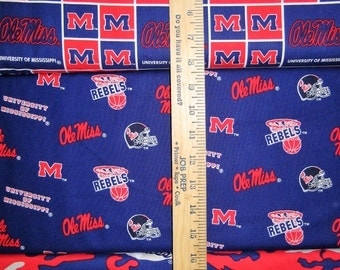NCAA Ole Miss Rebels Red & Blue College Logo Cotton Fabric by Sykel! [Choose Your Cut Size]