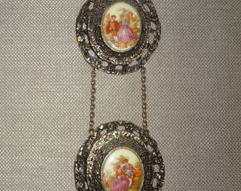Wall Hanging Cameo Victorian Ceramic Pictures with Ornate Brass Frames with Chain Attachments