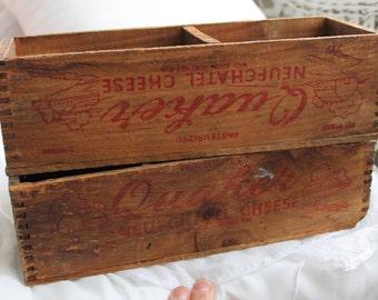 2 Club Cheese Box Wooden Box Wood Box Country Cottage Style Farmhouse Farm House, Plant Herb Box, Quaker