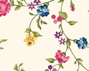 Baltimore Spring fabric with cream background.