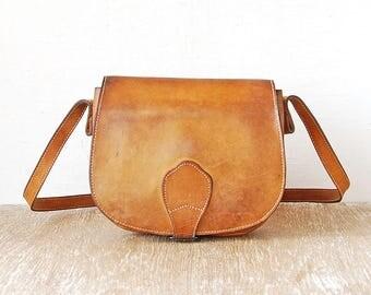 Small Vintage Leather Handbag, Tan Leather Teen Purse, Crossbody Vintage Girls Bag, Leather Money Folder