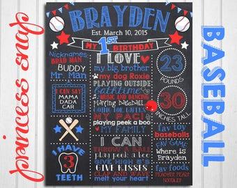 Baseball First Birthday Chalkboard, Sports Milestone, Baseball 1st Birthday, Baseball Birthday Chalkboard, Sports 1st Birthday Chalk board