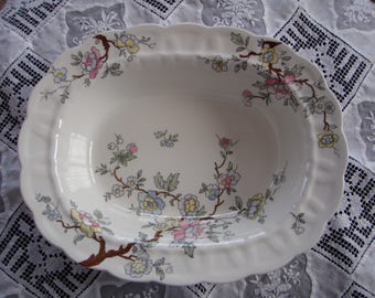 Vintage English China Serving Bowl Made by Booths Pattern Chinese Tree