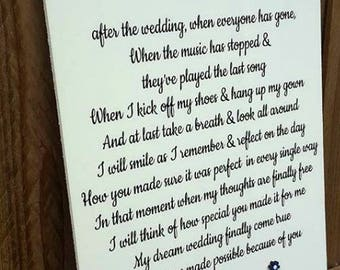 mum and dad thank you end of wedding gift bridal party gift mother of the bride poem thank you gift wedding poem
