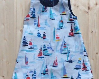 Crafty Pear Sailing Reversible A-line dress