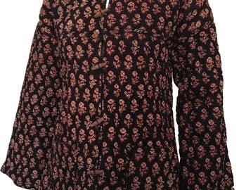 Vintage Indian Black Cotton Gauze Quilted Jacket Reversible 1970s