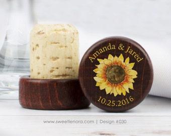 Personalized Wine Stopper - Sunflower - Custom Wine Stopper - Wood Wine Stopper - Wedding Favor - Wedding Gift - 030