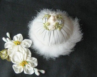 Antique Swans Down Powder Puff with French Silk Ribbonwork Trim & Celluloid Handle