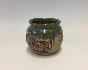 Handmade / Pottery Frog  Vase / Pine Green - Home Decor