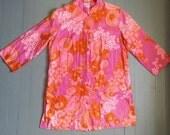 60s Vintage Hawaiian Japanese Hot Pink Floral Long Button Shirt