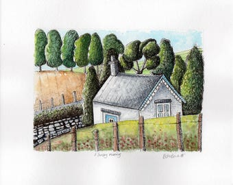 Original watercolour illustration, country house, pen and ink, mixed media, summer landscape, contemporary art, home decor, painting