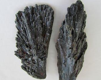 2 Black Kyanite Stones - Black Kyanite Crystal Specimens, Raw Black Kyanite from Brazil - Rough Raw Crystals and Stones Loose
