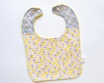 NNeutral Baby Bib | Grey Yellow Bib | Full Baby Bib | Feeding Baby Bib | Gender Neutral Bib | Large Baby Bib | Handmade Bib | Homemade Bib