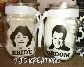dan and Roseanne Bride and groom mugs