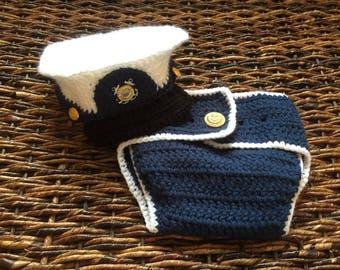 U.S. Coast Guard Hat and Diaper Cover