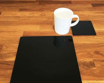 Square Placemats or Placemats & Coasters - in Black Gloss Finish Acrylic 3mm