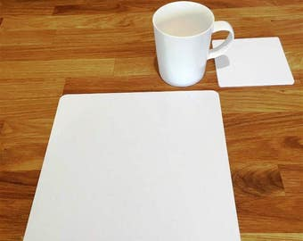 Square Placemats or Placemats & Coasters - in White Gloss Finish Acrylic 3mm