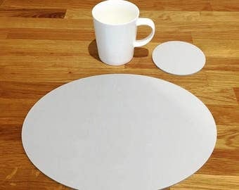Oval Placemats or Placemats & Coasters - in Light Grey Matt Finish Acrylic 3mm