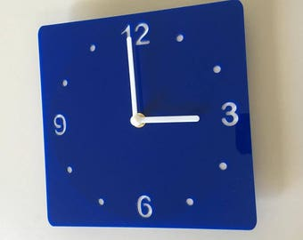"Rounded Corner Square Blue & White Clock - White Acrylic Back, Blue Gloss Finish Acrylic with White hands, Silent Sweep Movement Size 8""/12"""