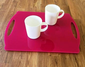 """Rectangle Flat Serving Tray - Pink Gloss Finish Acrylic, 3mm Thick 30cm x 40cm 12""""x16"""""""