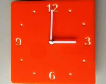 Rounded Corner Square Orange & White Clock - White Acrylic Back, Orange Gloss Finish Acrylic with White hands, Silent Sweep Movement