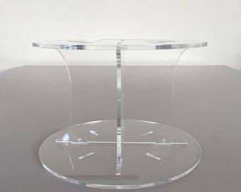 """Plain Round Clear Gloss Acrylic Cake Pillars / Cake Separators, for Wedding / Party Cakes 10cm 4"""" High, Size 6"""" 7"""" 8"""" 9"""" 10"""" 11"""" 12"""""""