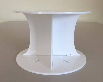 "Plain Round White Gloss Acrylic Cake Pillars / Cake Separators, for Wedding / Party Cakes 10cm 4"" High, Size 6"" 7"" 8"" 9"" 10"" 11"" 12"""