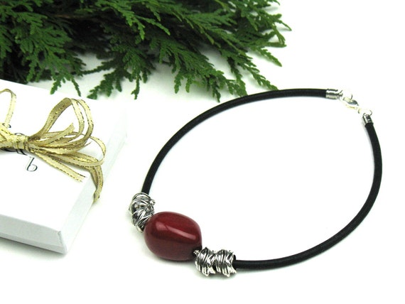 Mokuba Cord Necklace in Black with Red Tagua Nut and Silver Tube Beads